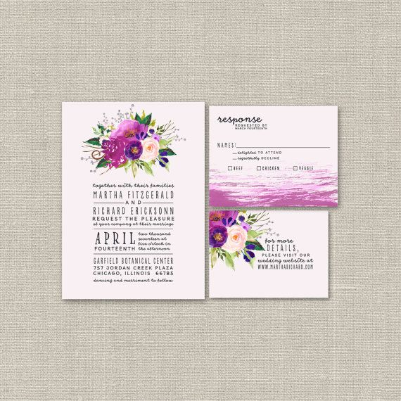 Purple Floral Watercolor Invitation Suite // Modern, Boho Chic Wedding Invite