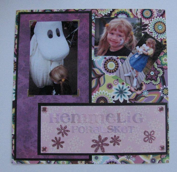 """Scrapbook page """"Secret Crush""""                                     #finland #mummi #mumitrollet #crush #love #flowers #little #girl #hattifnatt #90s #xoxo"""