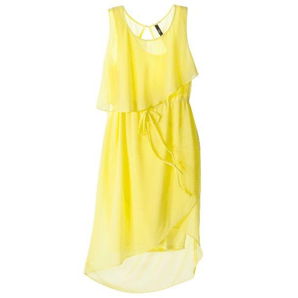 $39 Target Juniors dress. Petites Sleeveless Ruffled Chiffon Dress - Yellow or Teal.