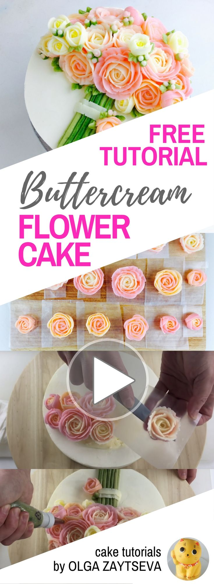 HOT CAKE TRENDS How to make Pink Roses Buttercream bouquet cake - Cake decorating tutorial by Olga Zaytseva. Learn how to pipe tiny jasmine, roses and buds and assemble a buttercream flower bouquet cake in variety of pink shades.