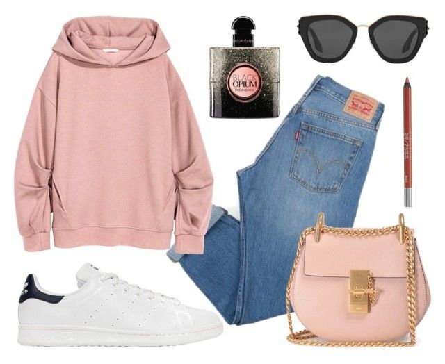 """Weekend Mode"" by pearls-and-peanuts ❤ liked on Polyvore featuring Levi's, adidas Originals, Prada, Chloé, Yves Saint Laurent and Urban Decay"