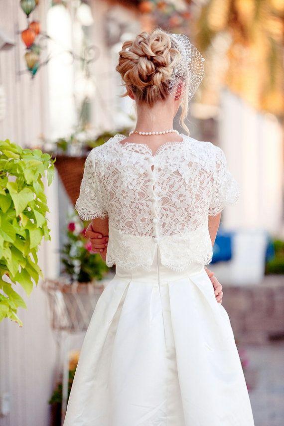 Christine  2 piece Tea length Wedding Dress par TheLittleWhiteDress, $548,00