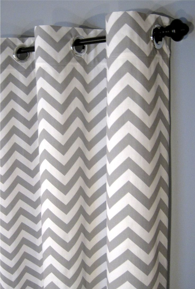 "84"" Grey Zig Zag Grommet Curtains - Two Chevron Curtain Panels - 50""x84"" - FREE SHIPPING. $129.50, via Etsy."