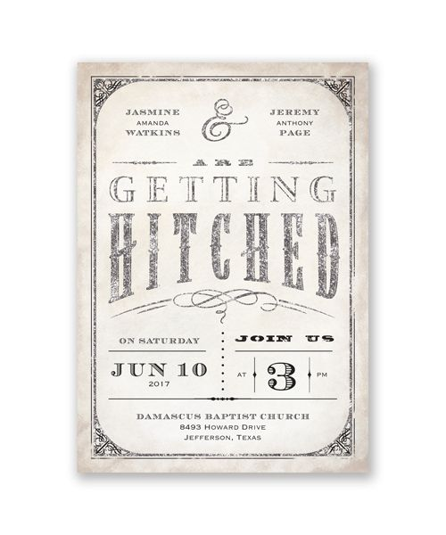 Getting Hitched with Style Glitter Wedding Invitation by David's Bridal.: David Bridal, Hitching, Glitter Invitations, Glitter Westerns, Style Glitter, Bridal Exclusively, Real Glitter, Invitations Ideas, Invitations Style