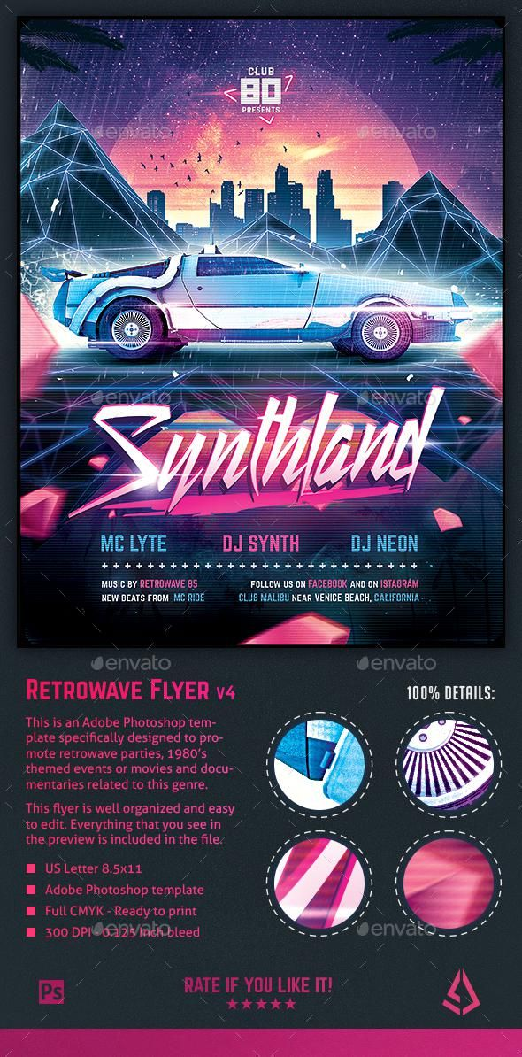 Synthwave Flyer v4 - Synthland Retrowave Series Poster Template for $7 - Envato ...