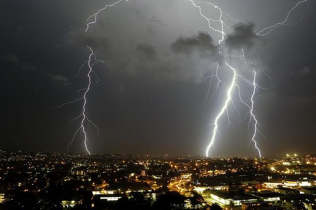 Double Lightning Strike by Chris Bloom, via Flickr