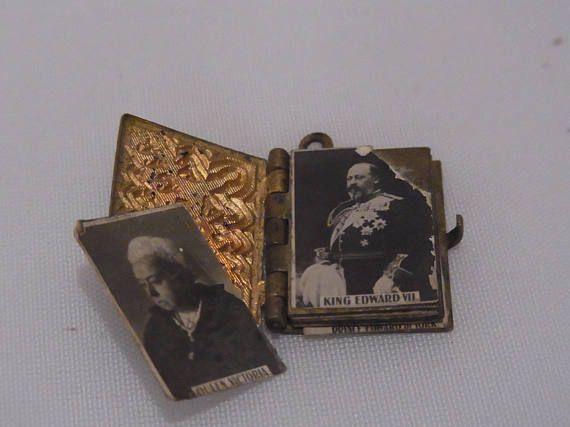 Antieke koningin Victoria en familie Souvenir foto medaillon