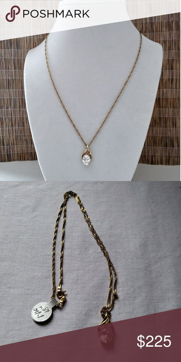 Gold Chain with Pendant 14K Yellow Gold Chain 18 inches long. Pendant has Cubic Zirconia and chain is like a twist rope. Vintage look. Jewelry Necklaces