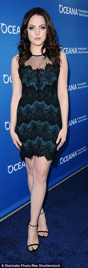 Serene in green: Vacation star Liz Gillies flaunted her porcelain skin in a lace covered m...