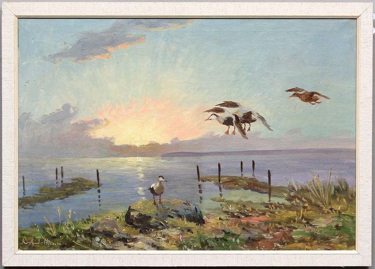 KOFOED HANSEN. Strandbild med sjöfågel. Olja på duk. Signerad.