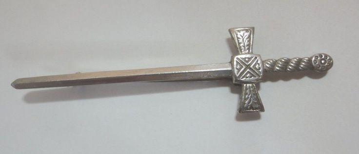 "Kilt Pin, Celtic Cross,  3"" Vintage Celtic Kilt Pin Made In Great Britain"