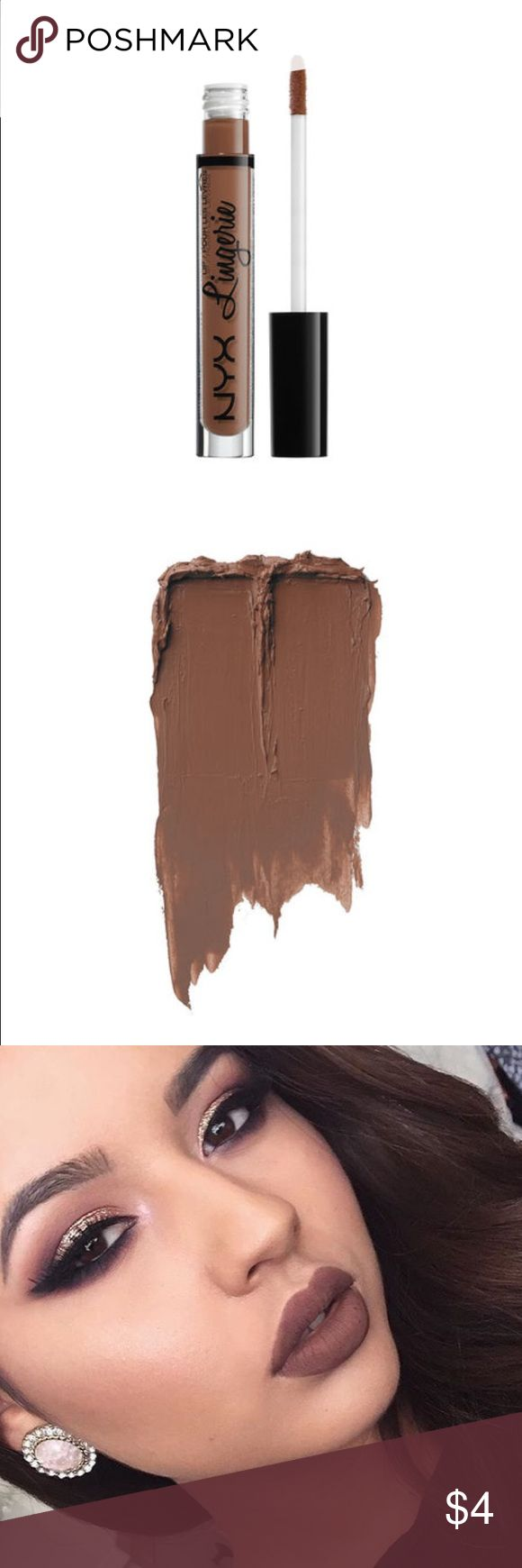 "Lip Lingerie Liquid Lipstick- ""Beauty Mark"" This is a chocolate brown, a very gorgeous brown nude with some reddish undertones. Very 90's inspired. I feel like this would be something Kylie Jenner would wear on a regular basis so if you wanna rock Kylie Jenner's brown lip trend, this lippie is perfect you NYX cosmetics Makeup Lipstick"