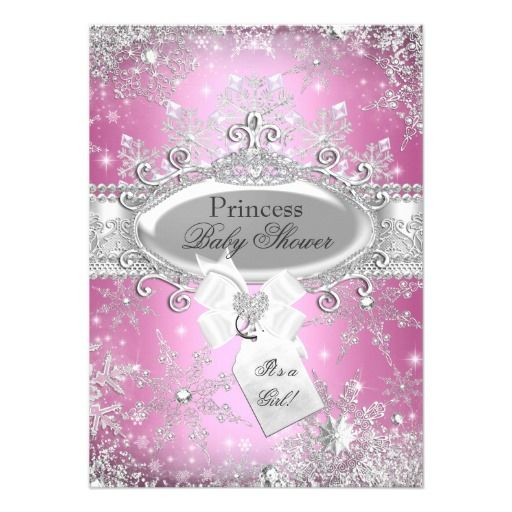 Pink Winter Princess Baby Shower Invitations Are The Perfect Choice For A  Little Girl Who Is Expected During The Winter Months. Cute Princess Theme  Has Lots ...