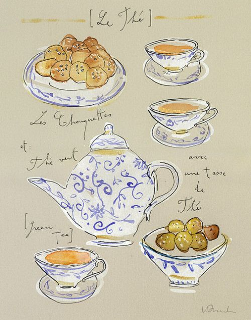 Green tea with french chouquettes cakes by Lucile's Kitchen