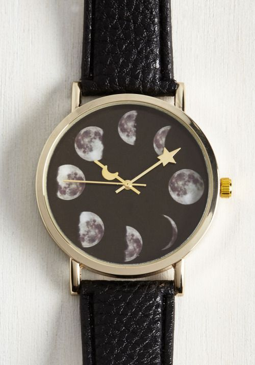 moon phase watch  nu goth pastel goth goth witchy gothic lolita fachin watch bracelet jewelry accessories moon space modcloth