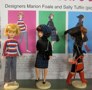 Sindy dolls at the 'linen moth' blog: (Frick, 2012). Mod designers Foale and Tuffin designed outfits for Sindy.