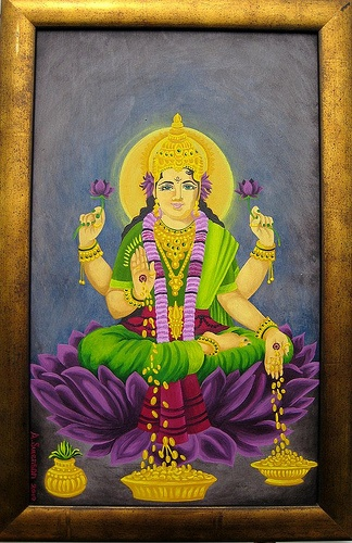 """11 ¾ x 19 ¼"""" image14 ¼ x 21 ¾"""" framed acrylic paint on wood, 2010""""In Hindu mythology, Lakshmi is the Goddess of wealth and prosperity, both material and spiritual. The word ''Lakshmi'' is derived from the Sanskrit word Laksme, meaning """"goal."""" Lakshmi, therefore, represents the goal of life, which includes worldly as well as spiritual prosperity. """"To purchase this painting, please go to my website, www.amy-swenson.com/"""
