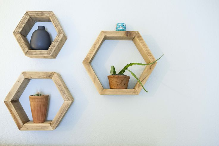 These hexagonal display shelves are another project by the mother-daughter woodworking team.