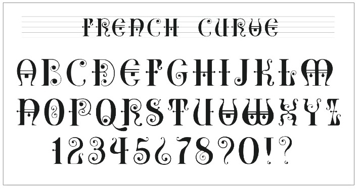French Curve Alphabet Alphabetica Calligraphy Fonts