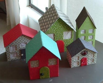 fabric covered cardboard houses template  Reminds me of the ones we had for our Christmas village when we were younger