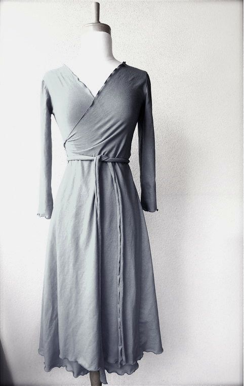 Long wrap dress custom made in 21 color options organic for Made in canada dress shirts