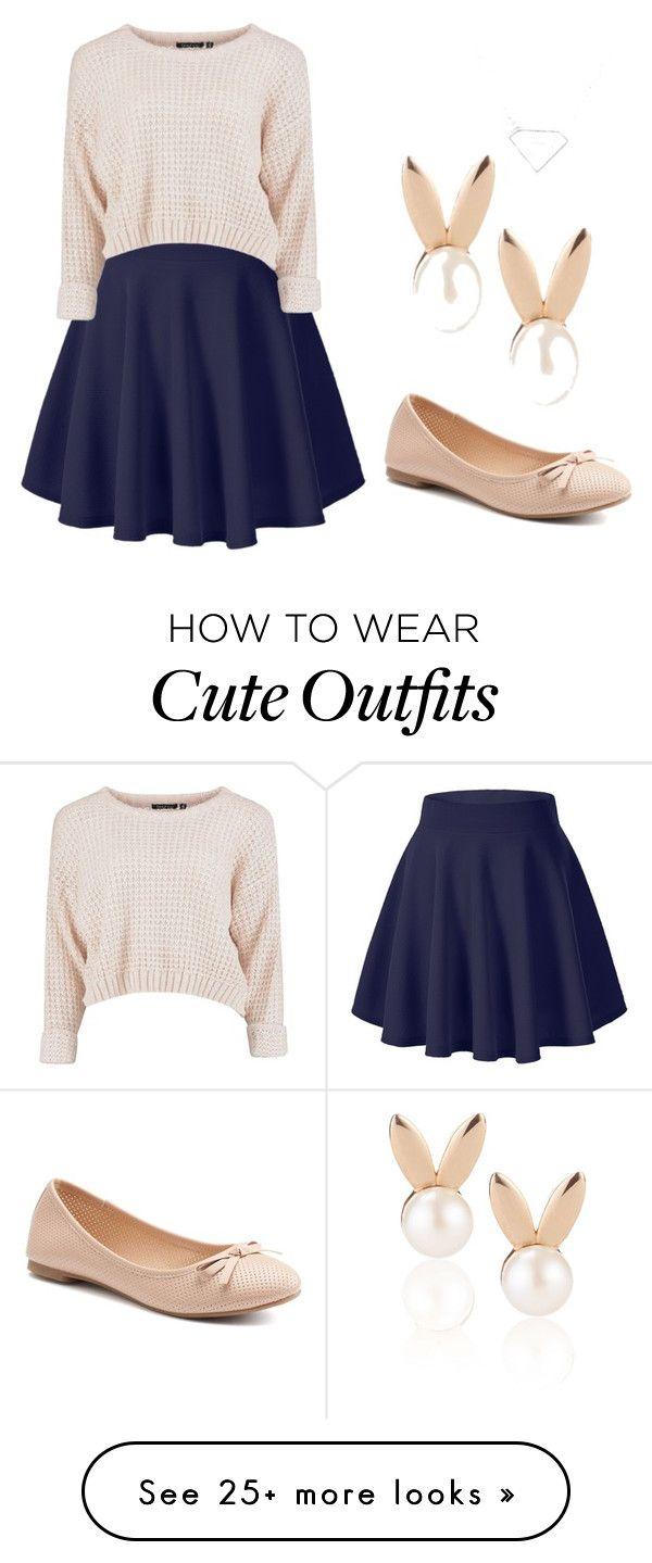 Falda, suéter, flats, casual