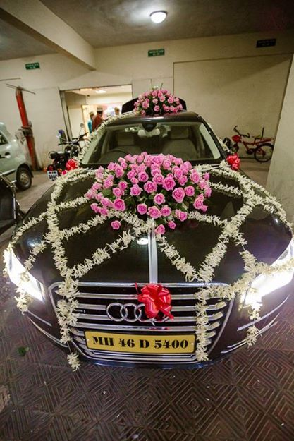 indian weddings,car decorations,flowers,audi,candid wedding photography,amour affairs