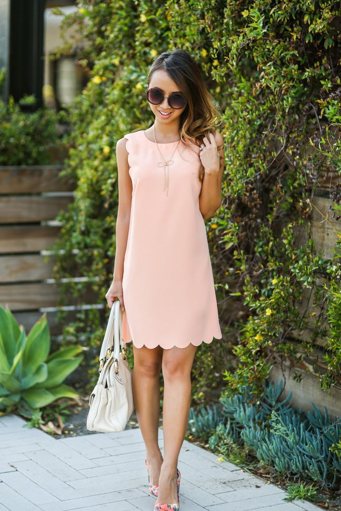 SCALLOP SHIFT DRESS