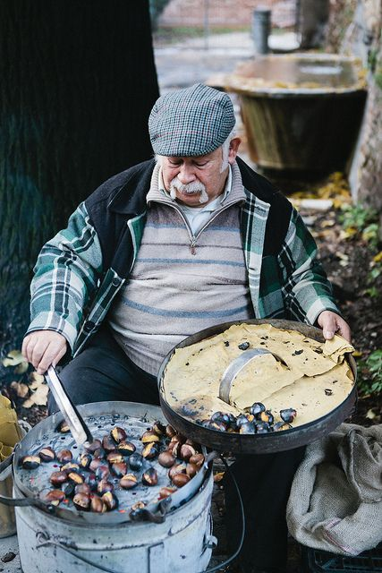 Roasted chestnuts . Rome Italy