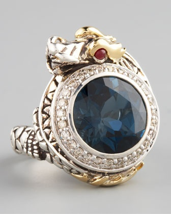 London Blue Topaz Dragon Ring, Small  by John Hardy at Neiman Marcus.