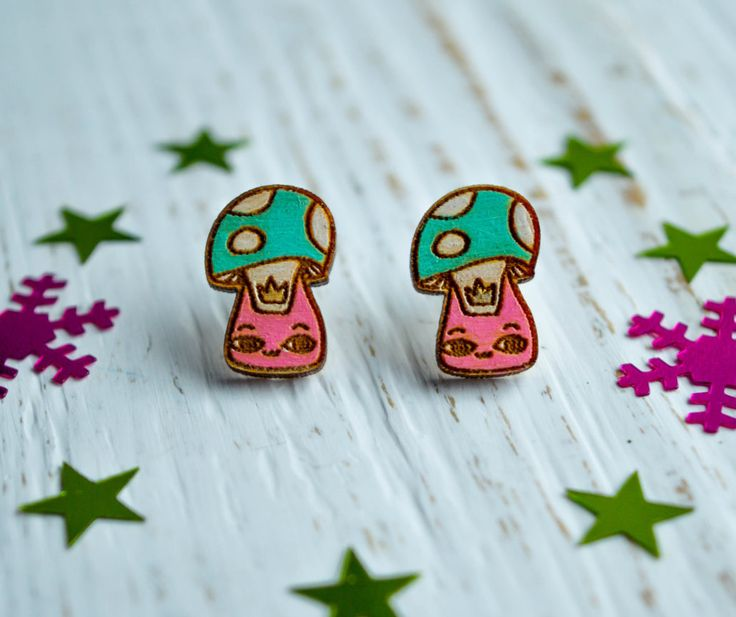 "Wooden Earrings ""Mushroom Cat"", Colored Earrings, Cute Wooden Earrings, Hand Painted by WaterFallWorkshop on Etsy"