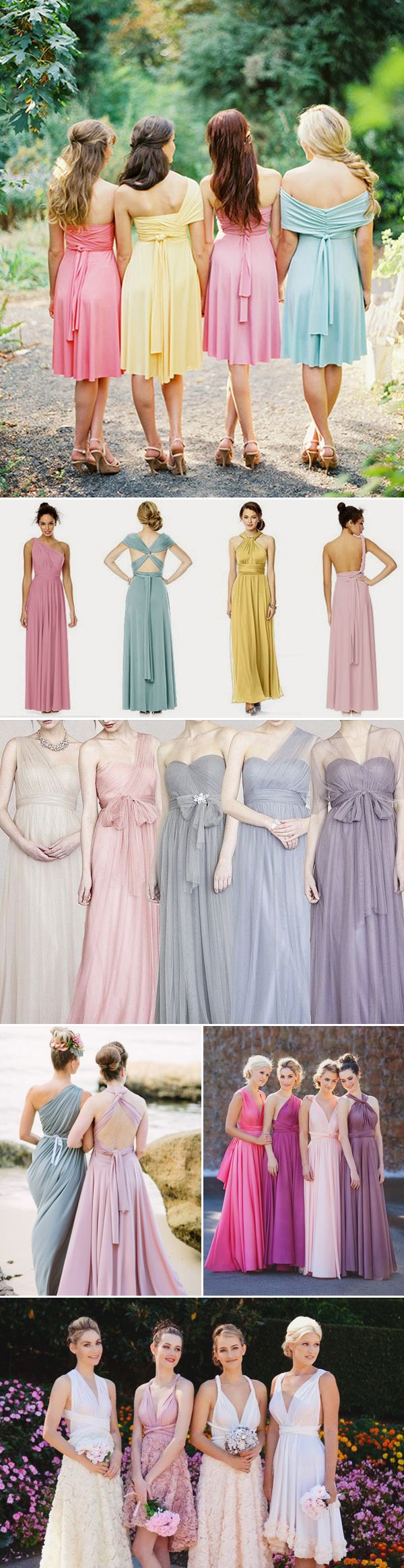 20 Chic and Stylish Convertible (Twist-Wrap) Bridesmaid Dresses - Mismatched colors