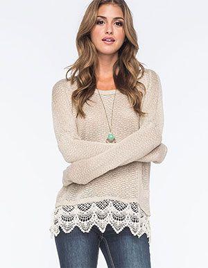 BLU PEPPER Lace Trimmed Womens Sweater  Beige