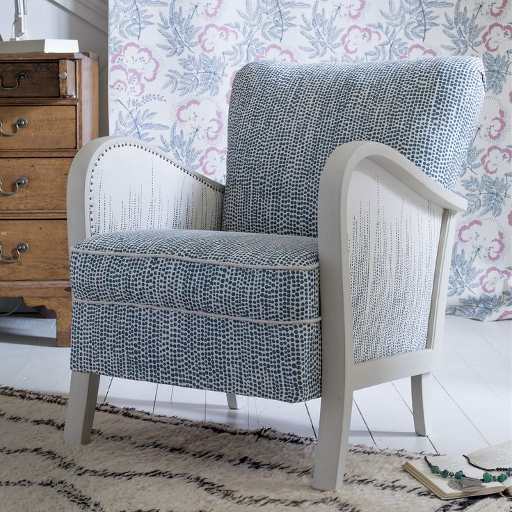 1940s french armchair by rapture and wright covered in dandaloo indigo fade