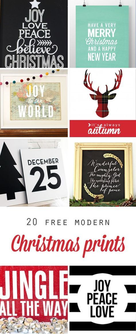 20 gorgeous, modern Christmas prints, and they're all free! Printables are a cheap way to decorate your house for the holidays.