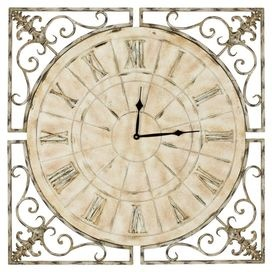 """Fir wall clock with an openwork border.   Product: ClockConstruction Material: Fir woodColor: Antique whiteFeatures:  Transitional clean design with functionality and versatilityCharming designWill enhance any décor  Dimensions: 27"""" H x 27"""" W"""