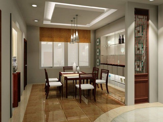 Modern Dining Room Decorating Ideas With Abstract Painting And Calm Colors Brown Tile FLoor Grey Wall Chandeliers