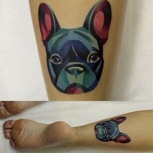 An adorable little Frenchy: | The 26 Coolest Animal Tattoos From Russian Artist Sasha Unisex                                                                                                                                                                                 Más