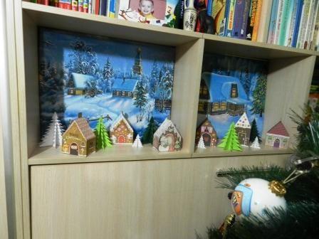 Новогодняя диорама из бумажных домиков - http://www.chudo-korobka.com/?p=1077