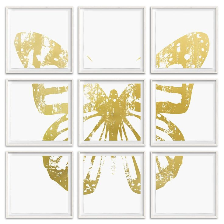 """Butterfly with Forest Wings - Grouping 2 Gold on White -  9 Frames 26"""" H x 26"""" W each Floated and Dry Mounted - Gold Leaf Foil on Fine Art Paper  White Wash - Wood Ash Frame #artsquaredinc #art #design #gold #goldleaf #artandnature #ButterflyForest #butterflyart"""