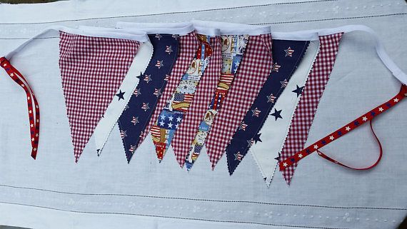 Handmade Patriotic Summer Fabric Flag Banner Bunting Fourth