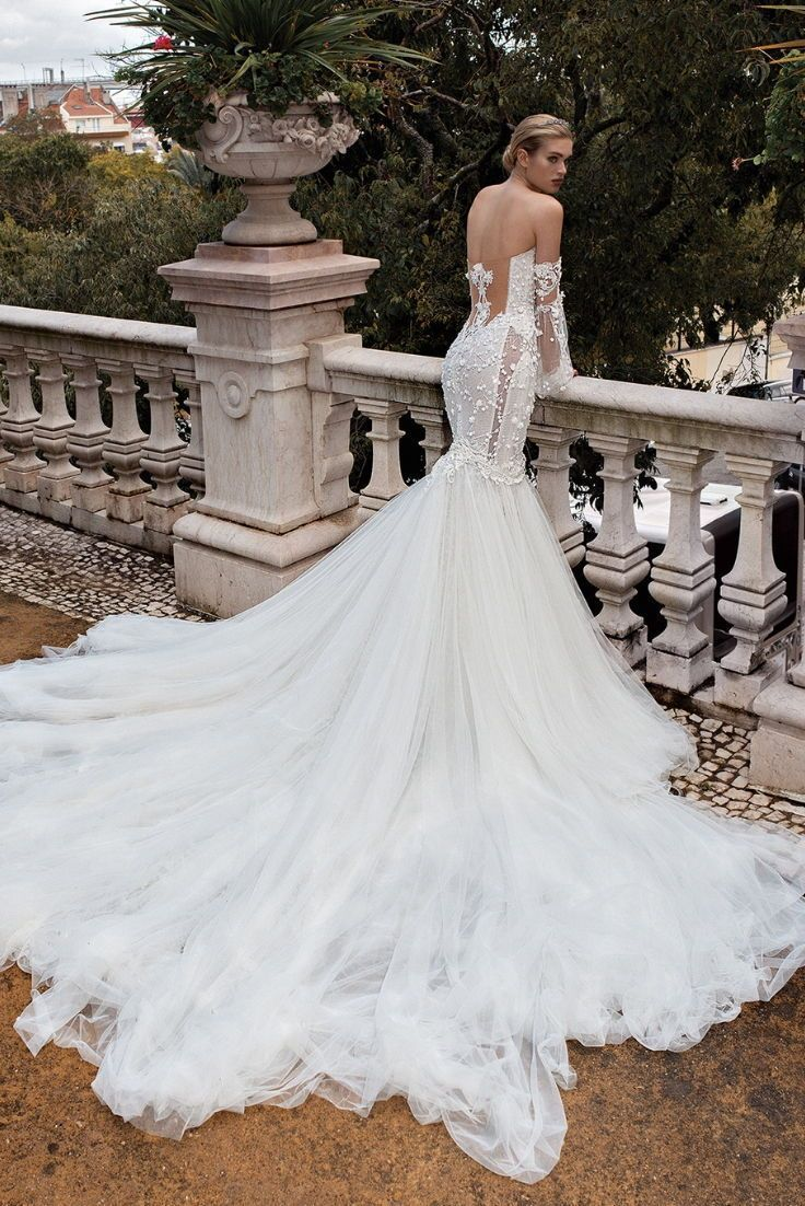 bcc442d1a095 Wedding dress by Galia Lahav with voluminous detachable trumpet mermaid  style #Kamie skirt. Silk tulle it offers a dramatic train with an appliqué  #Camilla ...