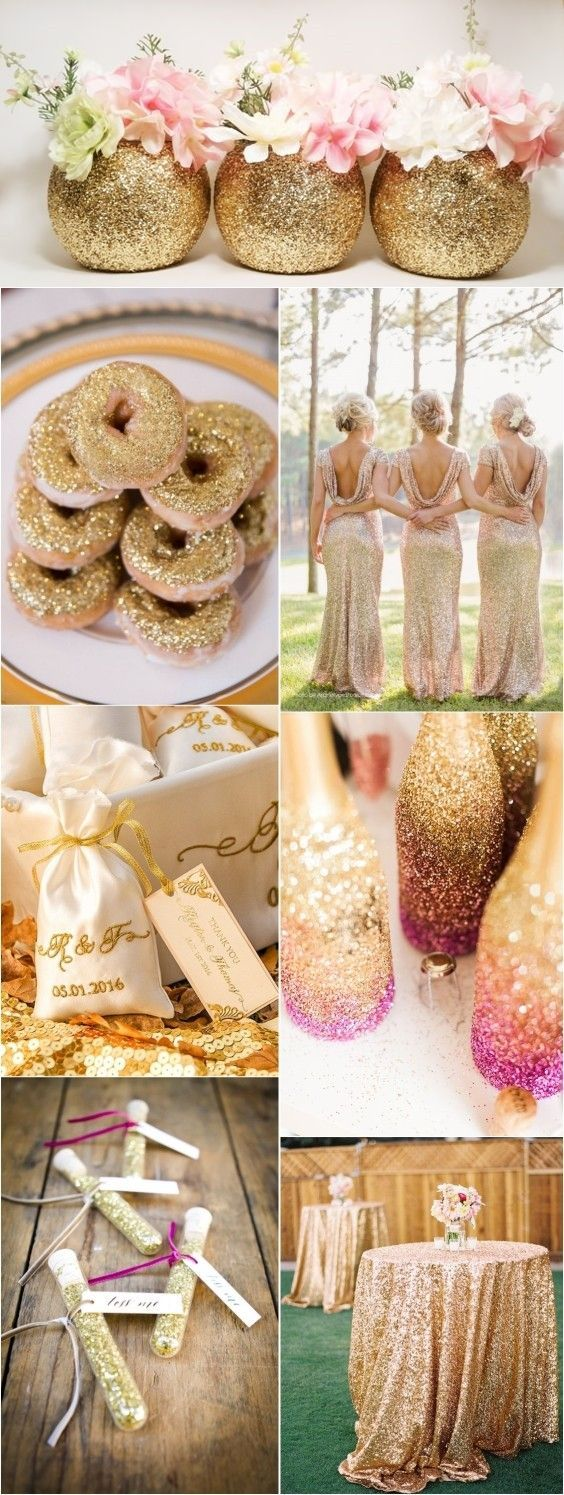 Gold Glitter Wedding Color Ideas / http://www.deerpearlflowers.com/glitter-wedding-ideas-and-themes/2/