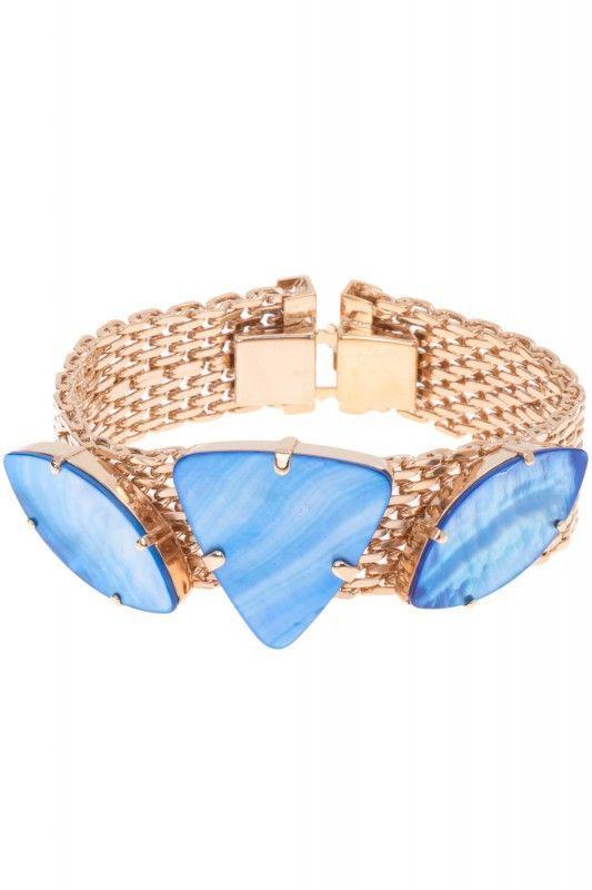 Sabrina Dehoff Armband blaue Perlmuttsteine vergoldet. www.styleserver.de
