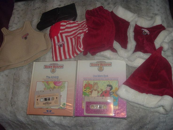 Worlds of Wonder Teddy Ruxpin Lot;Books w/Matching Cassettes & Holiday Outfit. #worldsofwonder #Christmas