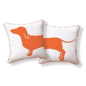 JANIS: Happy Hot Dog Pillow Cotton canvas pillow with a dachshund motif.