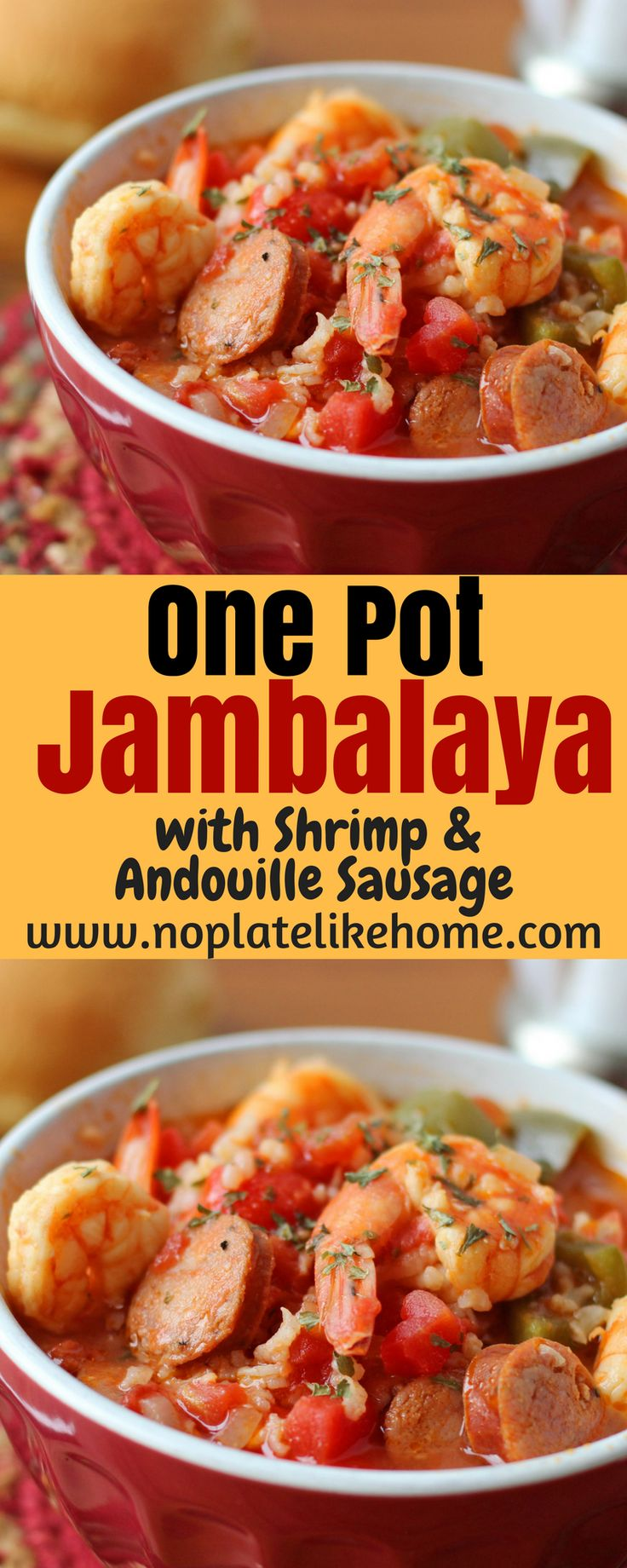 An easy and spicy one pot Jambalaya recipe with shrimp and Andouille sausage. It is a New Orleans homemade meal with creole spices your family will love. The leftovers taste even better! Pin for later!