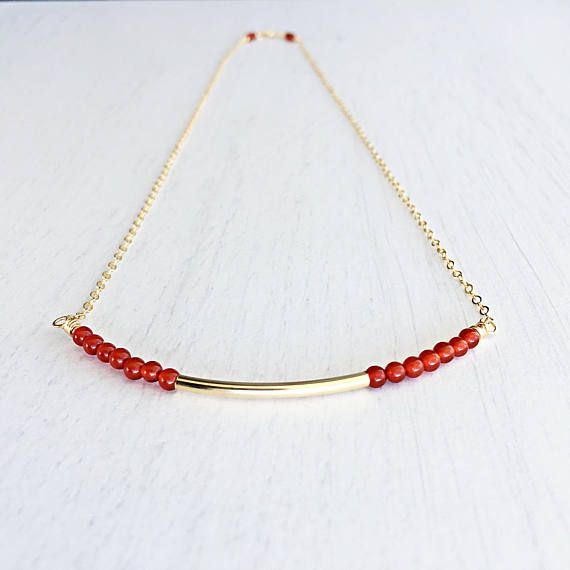 Carnelian Beaded Bar Necklace  on Gold Filled Chain Gold