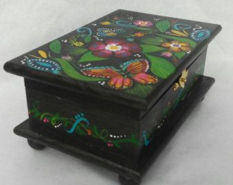 Wood jewelry box, hand painted box, painted jewelry box, wood keepsake box, mexican folkart box, floral wooden box, wood painted box, gift