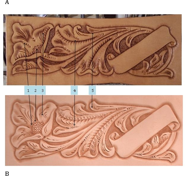 A tale of two leather carvings - one by a student and one by a master.